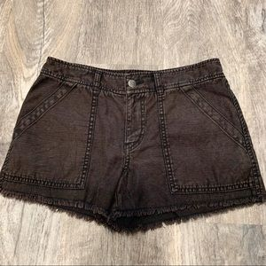Free People Brown/Black Raw Edge Shorts Size 4